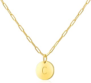 Initial Necklaces Gifts for Women Girls : 14k Gold Plated Round Disc Letter Pendant Paperclip Chain Personalized Name Teen...