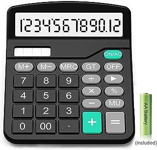 Calculator,12-Digit Solar Battery Basic Calculator,Solar Battery Dual Power with Large LCD Display Office Calculators(Black002) (Black002)