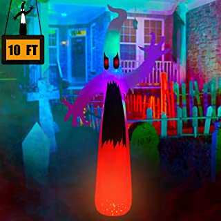 SEASONBLOW 10 ft Halloween Inflatable Ghost with Color Changing LED Lighted Airblown Blow Up Decoration for Lawn Yard Gard...