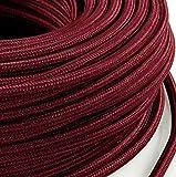 Cavo elettrico in tessuto tondo rotondo stile vintage rivestito 5 metri colorato Rosso Bordeaux Bordo' H03VV-F sezione 2x0,75 per lampadari, lampade, abat jour, design. Made in Italy