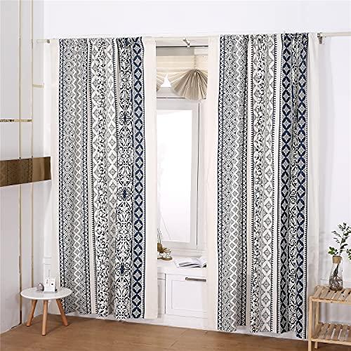 "YOMIMAX Navy Blue Baroque Window Curtain, Boho Style Floral Damask Vintage Design Curtain, Cotton Linen Decorative Rod Pocket Drape for Bedroom Living Kitchen, 59""x 63"""