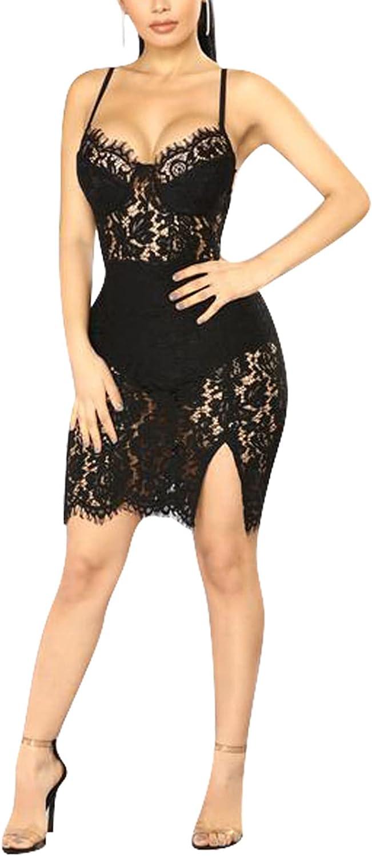 Women Club Night Mini Dress V-Neck Spaghetti Straps Lace Backless Party Dress