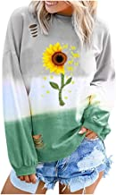 Womens Winter Casual Long Sleeve Round Neck Letter Gradual Sweatshirt Tops Pullover Shirts Blouses (S-2XL)