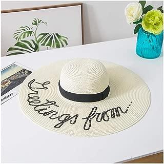 Hats Wild Sun Hat Straw Hat Female Sunscreen Sunshade Beach Seaside Cap Fashion (Color : White, Size : F)
