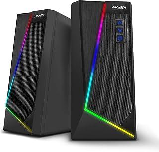 PC-luidsprekers ARCHEER RGB-gamecomputerboxen USB-stereoluidsprekers Soundbar LED-verlichting Luidspreker met subwooferdoz...