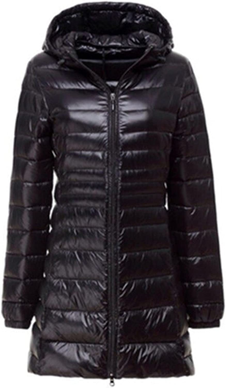Basieng UltraThin Feather Jacket Autumn and Winter Long Hooded Section Coat