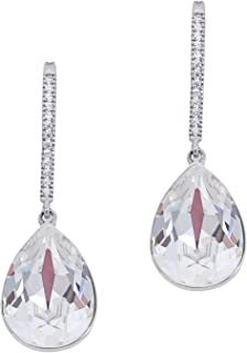 MOONSTONE Dazzling Pear Shape With Micro Pave Crystal Swarovski Elements Drop Sterling Silver Fashion Earrings For Women