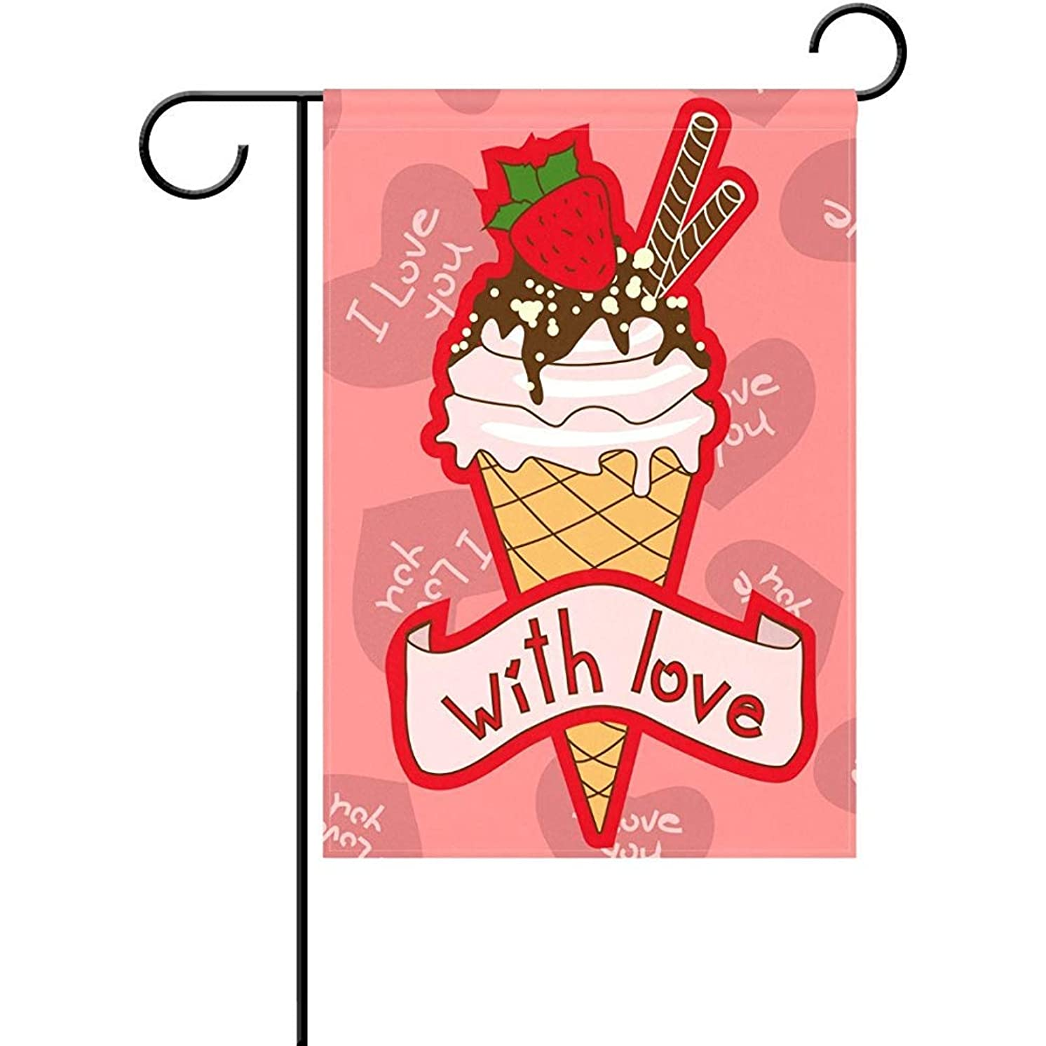 Starojun Red Strawberry Chocolate Ice Cream Cone with Love Pink Heart Polyester Garden Flag Banner 12