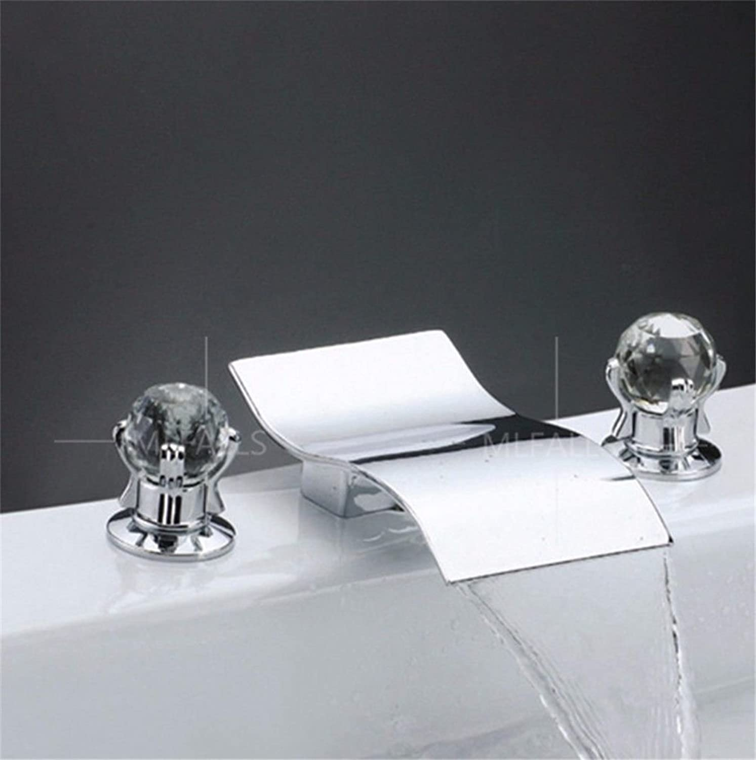 Lalaky Taps Faucet Kitchen Mixer Sink Waterfall Bathroom Mixer Basin Mixer Tap for Kitchen Bathroom and Washroom Copper Grand Falls Hot and Cold Crystal Hands