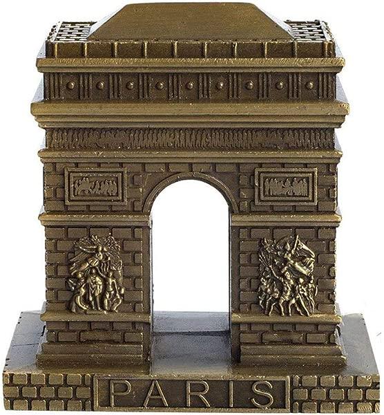 PROW Vintage Bronze Paris Arc De Triomphe Statue Figurine Home Desktop D Cor Souvenir Metal Artificial World Famous Buildings Sculpture 3 Inches