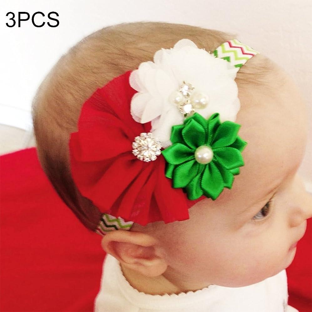 変える削除する約束するHairpinheair YHM 3ピースクリスマスデコレーション赤ちゃん子供シフォンフラワーヘッドバンド、西部子供休日ドレス飾り、ランダムスタイル配信