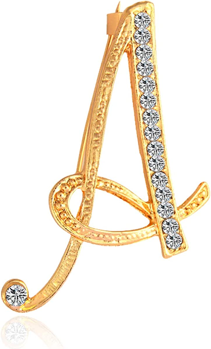 BeeGift Letter Brooch Pins Initial Rhinestone Brooch for Women Crafts,Rhinestone Crystal Lapel Pin Brooches Gold A-Z 26 Letters