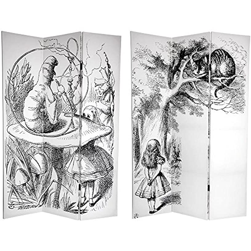 Oriental Furniture 6 ft. Tall Double Sided Alice in Wonderland Canvas Room Divider