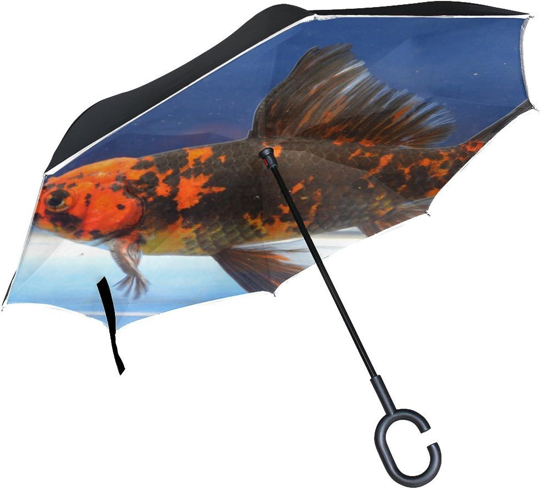 Animal Fish Comet goldfish Adorable Small Mix Water Sea Gorgeous Ingreened Umbrella Large Double Layer Outdoor Rain Sun Car Reversible Umbrella