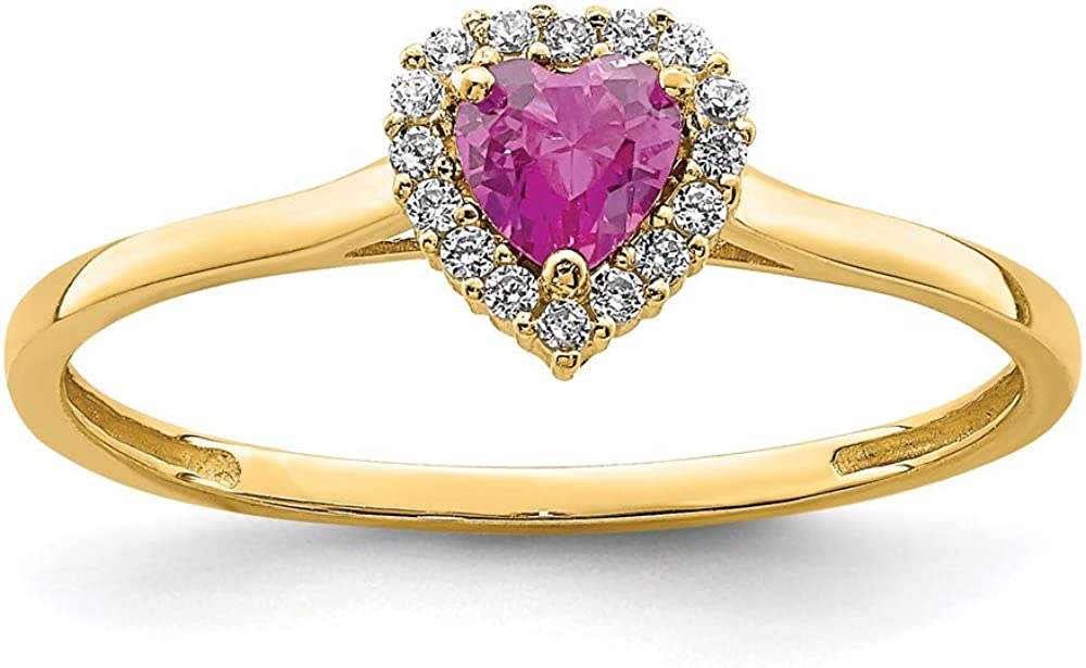 14k Yellow Gold Heart Pink Clear Cubic Zirconia Cz Band Ring Size 7.00 Love Fine Jewelry For Women Gifts For Her