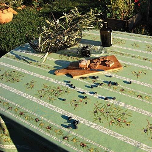 Nappe coton 3m x 1m55 clos des oliviers vert