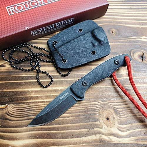 """""""Zenin Knife""""Rough Rider Black G10 Handle 440 Stainless Fixed Blade Neck Knife RR1825 +Sheath - The best knives!!!"""