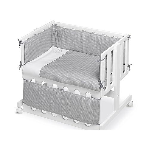 Pirulos 24911601 - Vestidura Minicuna, diseño luna, algodón, color blanco y gris