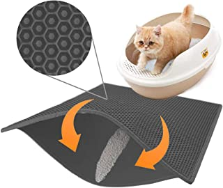 Lovinouse 23 x 15 Inch Cat Litter Mat, EVA Litter Trapping Mat, Water Urine Proof Pad for Messy Cats, Honeycomb Double Layer Cats Litter Catcher, Easy Clean, Non-Slip