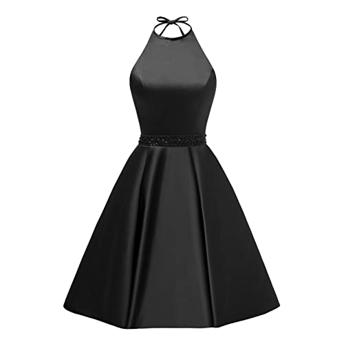 f91dbf07a2 Women s Halter A-line Beaded Satin Homecoming Dress Short Evening Party Gown  with Pockets
