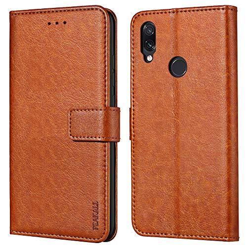 Peakally Xiaomi Redmi Note 7 Hülle, Premium Leder Tasche Flip Wallet Hülle [Standfunktion] [Kartenfächern] PU-Leder Schutzhülle Brieftasche Handyhülle für Xiaomi Redmi Note 7-Braun