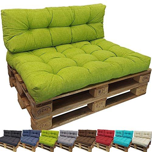 DILUMA Cojin para palés Confort - Cojin de Asiento o Respaldo para sofás palets - Repelente a Las Manchas (NO ES UN Set!), Variante:1x Asiento 120x80 cm, Color:Verde Manzana