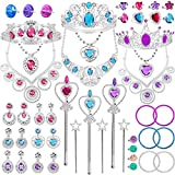 48 Pack Princess Pretend Jewelry Toy,Jewelry Dress Up Play Set for Girls Included Necklaces Wands Rings Earrings and Bracelets, Pretend Play Jewelry Set for Girls