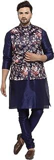 Benstoke Mens silk dupion kurta pajama with satin silk fabric kurta pajama printed waistcoat