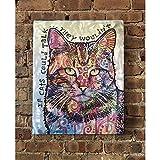 Ilove Home Decor Textured Metal Wall Art - Talking Cat Decor Wall Print- Abstract Wall Art 24'x19'x1.5'