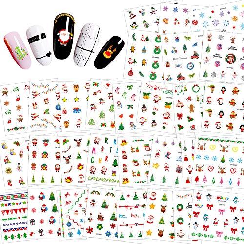 HOWAF 30 fogli adesivi per nail art natalizi, adesivi Natalizi per unghie 3D autoadesivi Babbo Natale renna fiocchi di neve decalcomanie per unghie per donne ragazze bambini Feste Natalizie