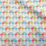 Stoff Meterware Baumwolle bunt Flamingo blau türkis rot