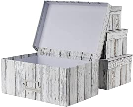 Photo Boxes Storage, Storage Boxes with Lids Water-Proof Storage Box Sets with Handles Decorative Multiple Size Storage Bi...