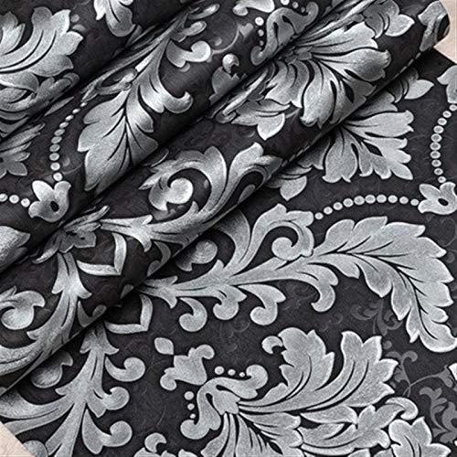 Rollo de papel tapiz en relieve minimalista modern Papel de lujo moderno pared metálica 3D del damasco papel pintado de vinilo Habitación Sala Fondos rollo de plata Gris Negro Rojo Marrón