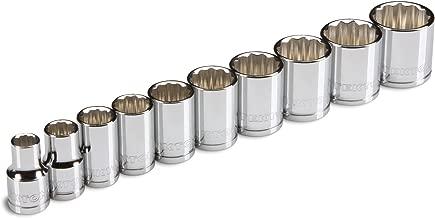 TEKTON 3/8-Inch Drive Socket Set, Metric, Cr-V, 10 mm - 19 mm, 10-Sockets | 1204