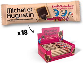 Michel et Augustin Chocolate French Cookie Squares | Dark Chocolate Sea Salt Pure Butter Shortbread | 18 Count