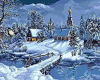 油絵 数字キットによる絵画雪に覆われた夜の風景デジタル絵画油絵 数字キットによる絵画手塗り DIY絵 デジタル油絵塗り絵 40x50cm (フレームレス)