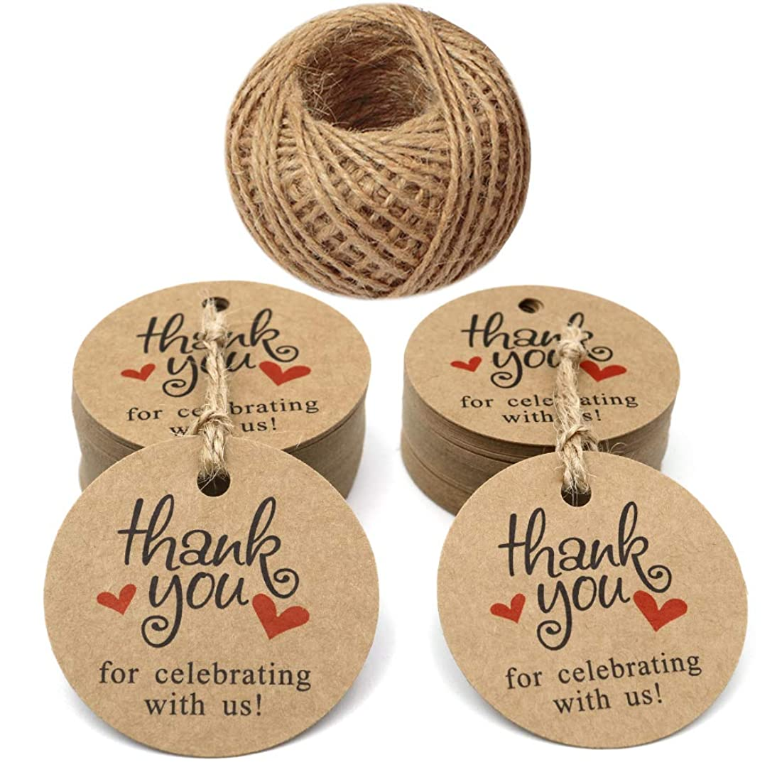 Original Design Father's Day Gift Tags,2 inch Round Brown Tags,Paper Tags,100 Pcs Thank You for Celebrating with Us Tags for Wedding Baby Shower Party Favors with 100 Feet Jute Twine