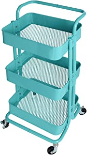 3-Tier Metal Utility Service Cart Rolling Storage Shelves with Handles Heavy Duty Mobile Storage Organizer Multifunctional Home Office Trolley Serving Cart (Blue)