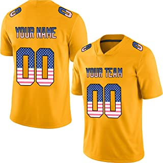 Gold Custom Football Jerseys for Men Women Youth Embroidered Team Name and Your Numbers S-8XL Design Your Own