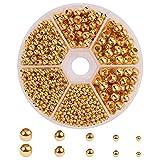 PandaHall Elite - 1430 Pcs Perles Separateurs Intercalaires Perles Espacees Perles d'espacement en Laiton Perles Doré pour la Fabrication de Bijoux, 2.4-6mm, Trou: 0.8-3mm