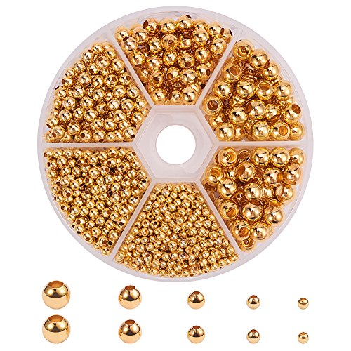 PandaHall Elite - 1430pcs Separate Perlen Spacer Beads Space Spacer Perlen in Messing Goldene Perlen für Schmuckherstellung
