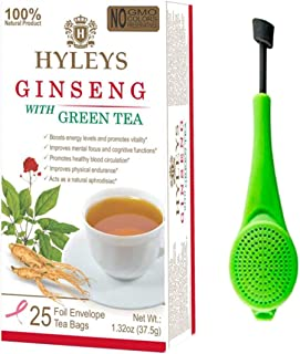 Hyleys Ginseng with Green Tea - 25 Tea Bags with a Tea Infuser