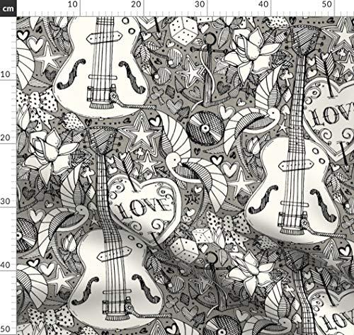 Musik, Gitarre, Illustration, Scrummy, Sharon Turner, Tätowierung, Schwalben Stoffe - Individuell Bedruckt von Spoonflower - Design von Scrummy Gedruckt auf Synthetik Jersey