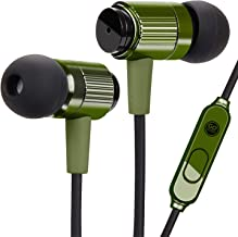 GOgroove AudiOHM RNF Durable Earbuds - Heavy Duty Headphones with Thick Aramid Fiber Reinforced Cable, In-Line Microphone, In-Ear Noise Isolation & Rugged Metal Driver Housing (Army Green)