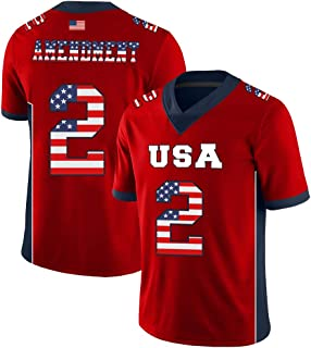 Custom 2nd Amendment Football Jersey USA Flag Style Breathable and Dry(Small-XXXXL)