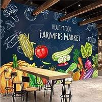 Bosakp カスタム3D写真壁紙手描きの健康食品果物野菜壁画スーパーマーケット果物屋レストラン壁の装飾 240X155Cm