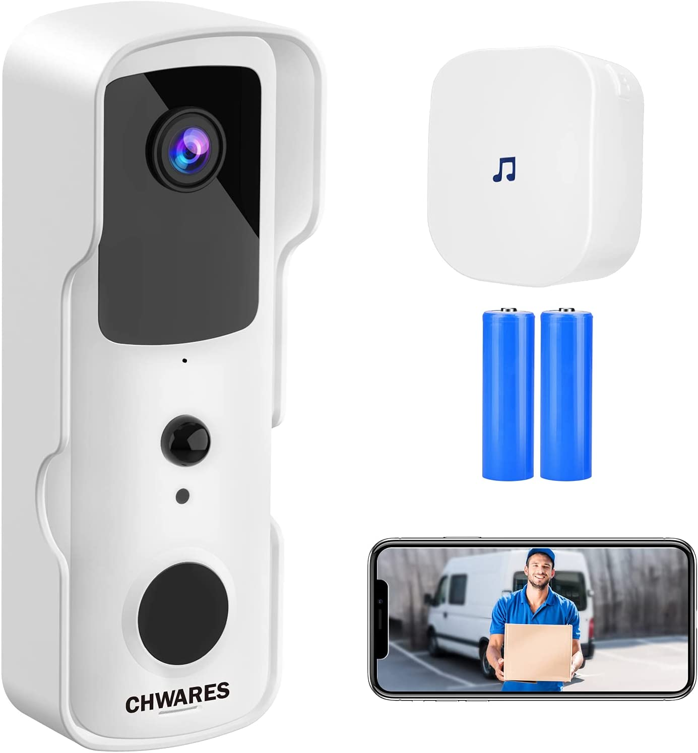 CHWARES Video Doorbell Camera Wireless WiFi with Chime for Home Security 1080P HD Night Vision 2-Way Talk Motion Detection IP65 Waterproof Easy Installation Alexa Compatible