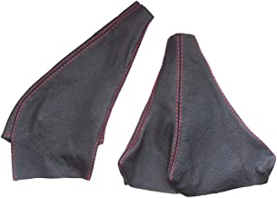 The Tuning-Shop Ltd For Mitsubishi Gto 3000Gt 1989-2000 Gear & Handbrake Gaiter Black Leather Red Stitching