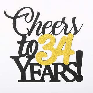 LVEUD Happy Birthday Cake Topper Black Font Golden Numbers Cheers to 34 Years Happy Birthday Cake Topper -Wedding,Anniversary,Birthday Party Decorations (34th)