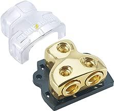 LEIGESAUDIO 0/2/4 Gauge in 0/2/4 Gauge Out Copper Amp Power Distribution Block for Car Audio Splitter (2WAY)